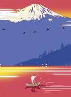 朝焼けの富士と和船
