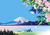 桜と富士と湖に家