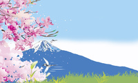山桜と富士山