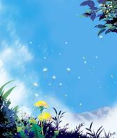 タンポポと青空 02694000179| 写真素材・ストックフォト・画像・イラスト素材|アマナイメージズ