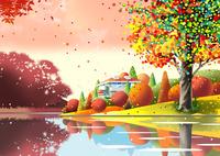 紅葉の湖畔の家 02694000193| 写真素材・ストックフォト・画像・イラスト素材|アマナイメージズ