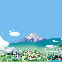 富士山の見える緑の街