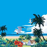 ハイビスカスが咲き鴎飛ぶビーチ
