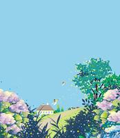紫陽花と丘の家