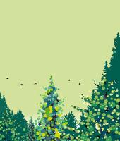 緑の森と鳥