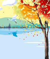 紅葉と湖の白い鳥