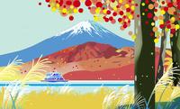 紅葉の富士と遊覧船 02694000223| 写真素材・ストックフォト・画像・イラスト素材|アマナイメージズ