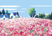 芝桜と家 02694000227| 写真素材・ストックフォト・画像・イラスト素材|アマナイメージズ