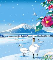 富士と寒椿 02694000256| 写真素材・ストックフォト・画像・イラスト素材|アマナイメージズ