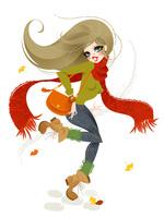 秋の服装で歩く女性 02696000001| 写真素材・ストックフォト・画像・イラスト素材|アマナイメージズ