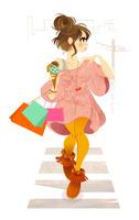 横断歩道を渡る女性 02696000005| 写真素材・ストックフォト・画像・イラスト素材|アマナイメージズ