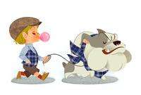 犬の散歩をする男の子