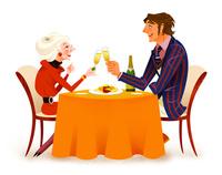 食事する女性と男性