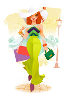 買い物をして歩く女性