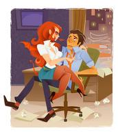 オフィスの男性と女性
