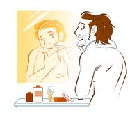鏡の前でひげを剃る男性