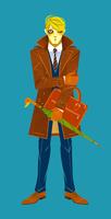 傘を持って立つコートの男性