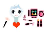 女性と化粧道具