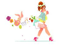 春の服装で歩く女性