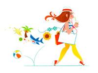 夏の服装で歩く女性