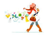 冬の服装で歩く女性
