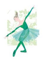 緑色の衣装を着てバレエを踊る女性 02697000001| 写真素材・ストックフォト・画像・イラスト素材|アマナイメージズ