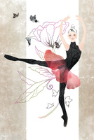 花と蝶をバックに赤いチュチュを着て踊る女性 02697000002| 写真素材・ストックフォト・画像・イラスト素材|アマナイメージズ