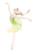 若草色のレオタードでバレエのレッスンをする女性 02697000009| 写真素材・ストックフォト・画像・イラスト素材|アマナイメージズ