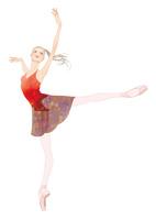 赤いレオタードでバレエのアラベスクをする女性 02697000011| 写真素材・ストックフォト・画像・イラスト素材|アマナイメージズ