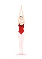 赤いレオタードでレッスンする女性 02697000013| 写真素材・ストックフォト・画像・イラスト素材|アマナイメージズ