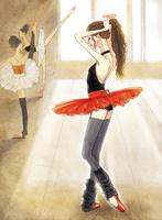 レッスン場で髪を束ねる赤いチュチュのバレリーナ 02697000019| 写真素材・ストックフォト・画像・イラスト素材|アマナイメージズ