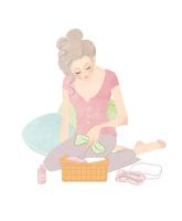 バレエの準備をするくつろいだ女性 02697000028| 写真素材・ストックフォト・画像・イラスト素材|アマナイメージズ