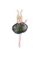 バレエ「白鳥の湖」オディールを踊る女性 02697000052| 写真素材・ストックフォト・画像・イラスト素材|アマナイメージズ
