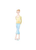 黄色いセーターの女性 02697000073| 写真素材・ストックフォト・画像・イラスト素材|アマナイメージズ