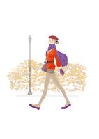 ベレー帽をかぶり、ショートパンツ、マフラーで街を歩く女性 02697000098| 写真素材・ストックフォト・画像・イラスト素材|アマナイメージズ