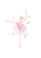 ピンクのレオタードを着て、音楽に合わせてバレエのレッスンをする女性 02697000099| 写真素材・ストックフォト・画像・イラスト素材|アマナイメージズ