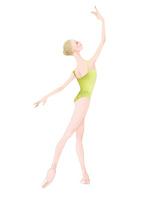 黄緑色のレオタードを着てバレエのレッスンをする女性 02697000105| 写真素材・ストックフォト・画像・イラスト素材|アマナイメージズ