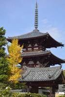 法輪寺三重塔と表門 02698000103  写真素材・ストックフォト・画像・イラスト素材 アマナイメージズ