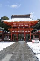 雪の近江神宮楼門 02698000300  写真素材・ストックフォト・画像・イラスト素材 アマナイメージズ