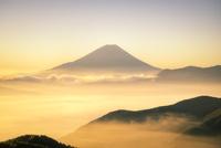 ゴールデンアワーの富士山と雲海 02702000005| 写真素材・ストックフォト・画像・イラスト素材|アマナイメージズ