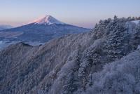 雪の三つ峠より望む紅富士 02702000023| 写真素材・ストックフォト・画像・イラスト素材|アマナイメージズ