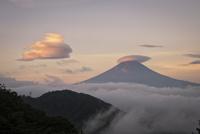 御坂峠よりのずむ雲海に浮かぶ冨士山と笠雲と吊るし雲 02702000055| 写真素材・ストックフォト・画像・イラスト素材|アマナイメージズ