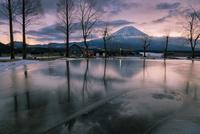 ふもとっぱらキャンプ場より望む朝焼けの冬富士山