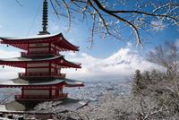 新倉浅間神社忠霊塔より望む冬富士と雪景色 02702000066| 写真素材・ストックフォト・画像・イラスト素材|アマナイメージズ