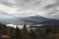 新道峠より望む朝日を浴びる富士山と河口湖