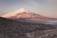 三国峠より望む雪景色と朝の富士山 02702000185| 写真素材・ストックフォト・画像・イラスト素材|アマナイメージズ