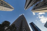 下から見上げる新宿の高層ビル群 02702000192| 写真素材・ストックフォト・画像・イラスト素材|アマナイメージズ
