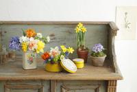 アンティークの缶にアレンジした春の球根花水仙とヒヤシンス