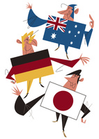 オーストラリア・ドイツ・日本のビジネスマン