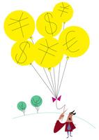 外貨の風船を持つ男性